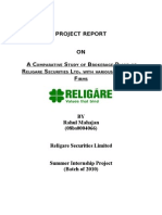 Report on comparitive study of brokerage plans with religare