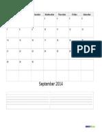 A Monthly Calendar Template