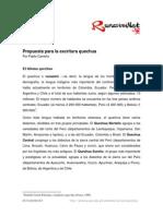 Propuesta Para La Escritura Quechua