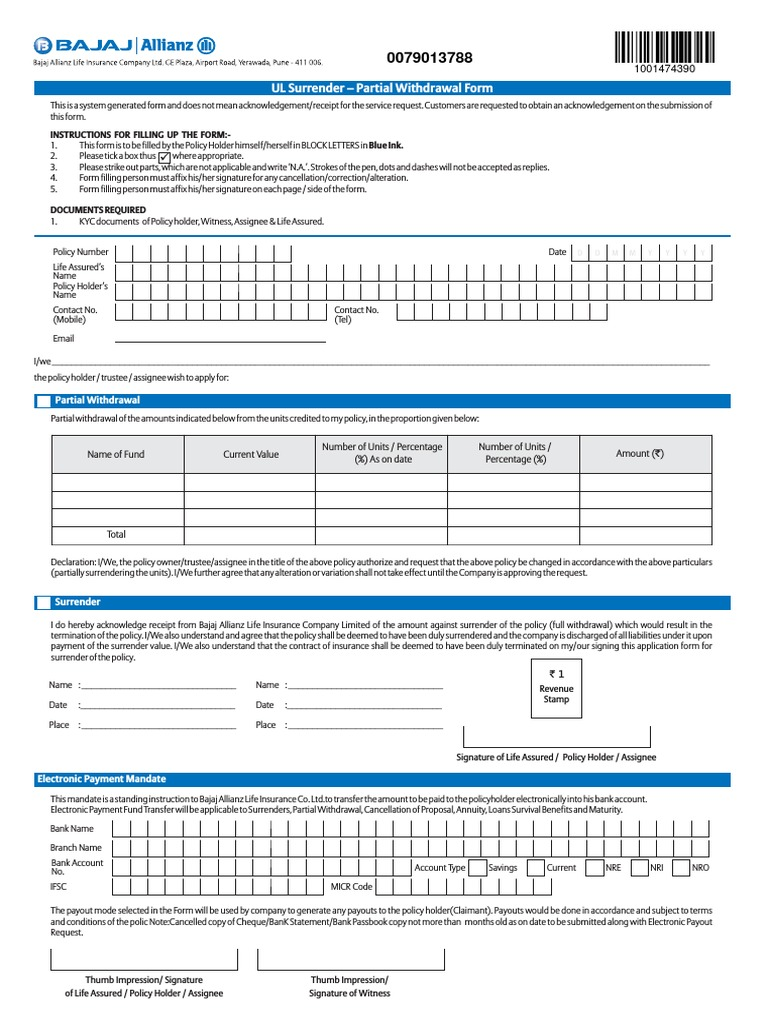 Bajaj Allianz Surrender Form | Life Insurance | Signature