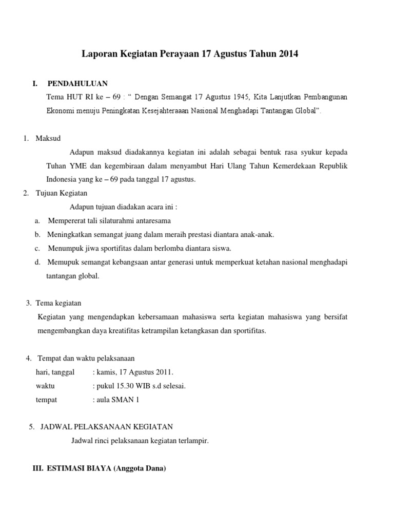 Contoh Membuat Laporan Kegiatan 17 Agustus