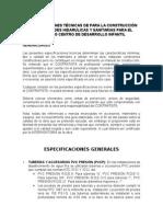 Especificaciones Tecnicas Hidraulicas y Sanitarias