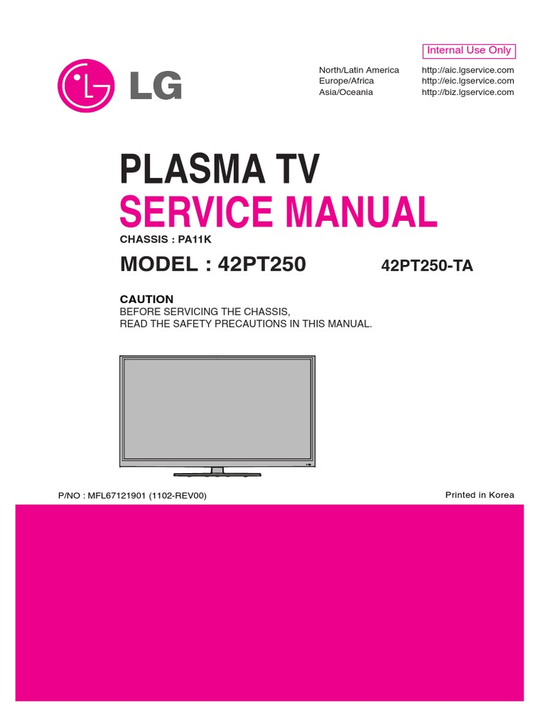 servicemanuals lg tv plasma 42pt250 42pt250 service manual rh es scribd com manual plasma lg lg neo plasma manuel