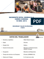 Incidente Fatal Unimaq Sa - Cerro Corona 19 Nov 2013