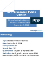 New Brunswick Trinity Western University Issue Public Opinion Summary Results - Sept 8, 2014