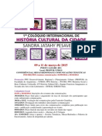 1º Colóquio Internacional de História Cultural Da Cidade