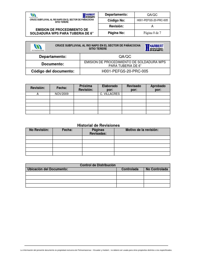 """Emision de Procedimiento de Soldadura Wps Para Tuberia de 6"""""""