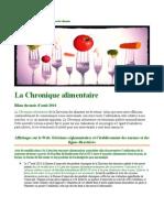 Chronique Alimentaire -Août 2014