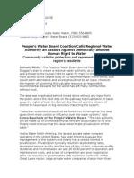Peoples Water Board Coalition - Regionalization Statement 09-10-14