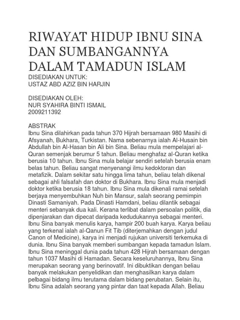 Riwayat Hidup Ibnu Sina Dan Sumbangannya Dalam Tamadun Islam