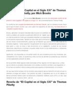 RESEÑA-SOBRE EL CAPITALISMO DEL SIGLO XXI DE THOMAS PIKETTY-MICK BROOKS.doc