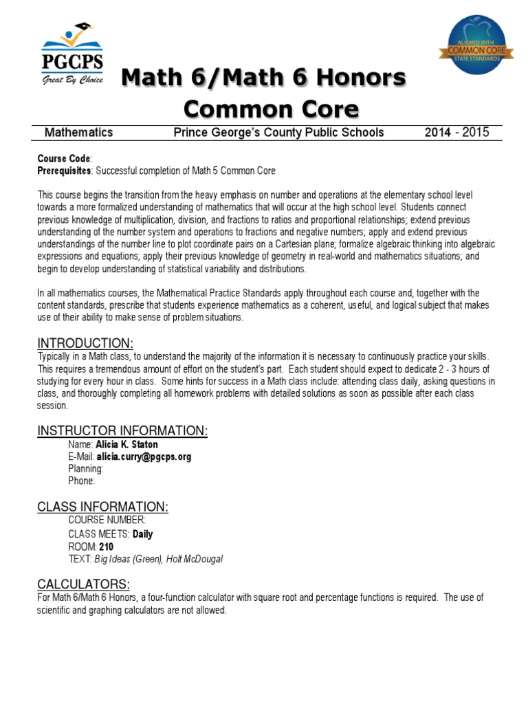 Worksheet Math 6 math 6 and honors common core syllabus 2014 2015 ratio fraction mathematics