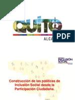 Construcción de las políticas de Inclusión Social desde la Participación Ciudadana