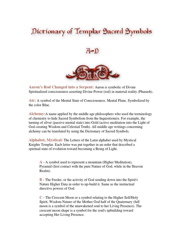 Dictionary Of Sacred Templar Symbols Plane Esotericism Soul