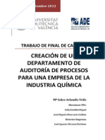 Creación de Un Departamento de Auditoría de Procesos Para Una Empresa de La Industria Química