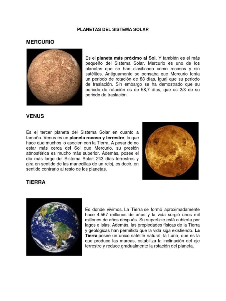 planetas del sistema solar conceptos
