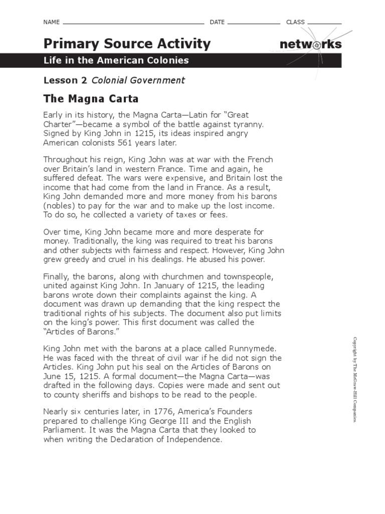 Magna Carta Worksheet   Magna Carta   Government