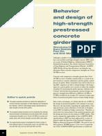 Behavior and Design of High-Strength Prestressed Concrete Girders