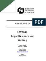 LW2600 Course Manual 2014-2015 Semester A