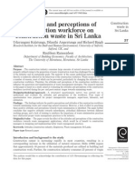 Attitudes and Perceptions of Const Workforce on Waste