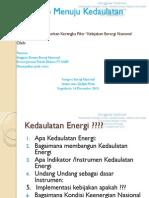 Road Map Menuju Kedaulatan Energi Dr. Tumiran DEN