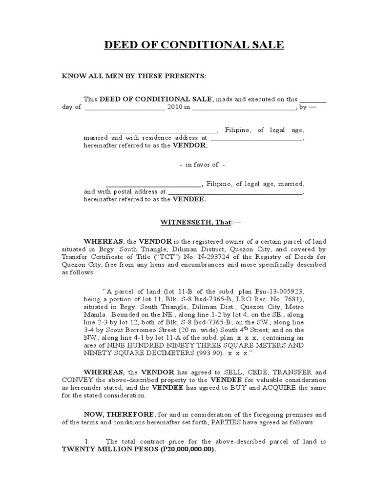 deed of conditional sale sample property civil law common law