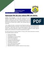 (ftwt)Operação fim de ano coloca PRF em alerta