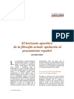El Horizonte Aporético de La Filosofía Actual en España