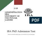 Iba Phd Sample Test 2014
