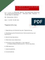 Vorl?ufige Tagesordnung der SFB-Vollversammlung am 2.12.2014