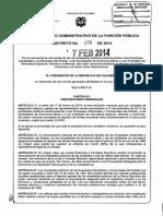 Decreto 176 Del 07 de Febrero de 2014 Salarios en Colombia General