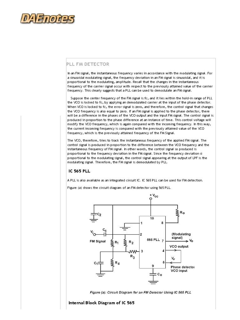 Block Diagram Of 565 Wiring Pictures 2002 Mitsubishi Montero Sport Fuse Box Pll Fm Detector Using Ic Radio Frequency Rh Es Scribd Com