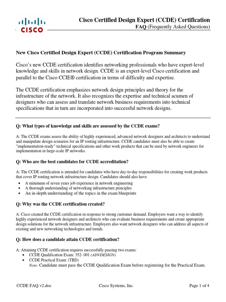ccde faq v cisco certifications test assessment