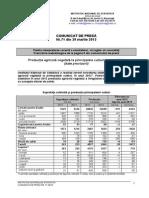 Producţia agricolă vegetală la principalele culturi, în anul 20122