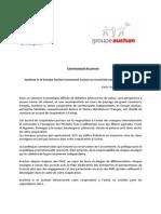CP Système U Et Auchan Annoncent Un Accord de Coopération à l'Achat, 11.09.14