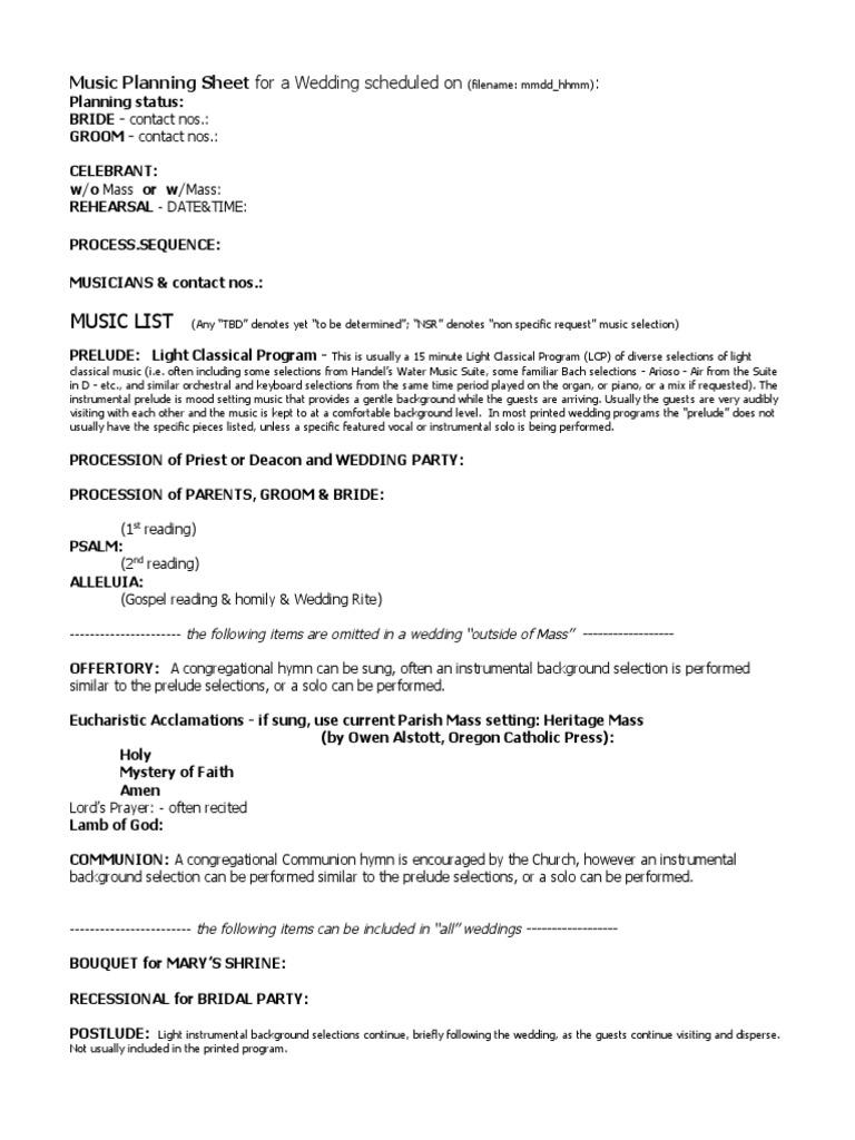 Marriage Music Plan Sheet | Messe | Jean-Sébastien Bach