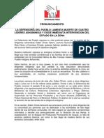Pronunciamiento de La Defensoría Del Pueblo Sobre La Muerte de Ashaninkas en Ucayali