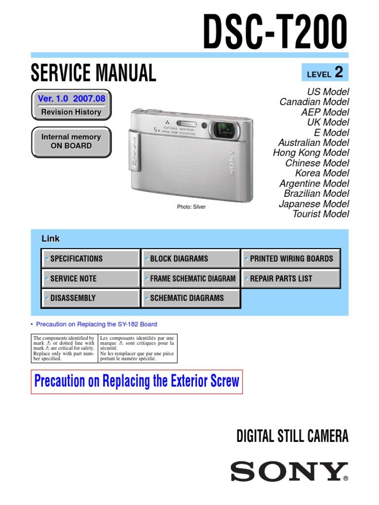 2454883 Sony Cybershot Dsc-t200 Service Repair Manual | Computer Data  Storage | Electronic Circuits