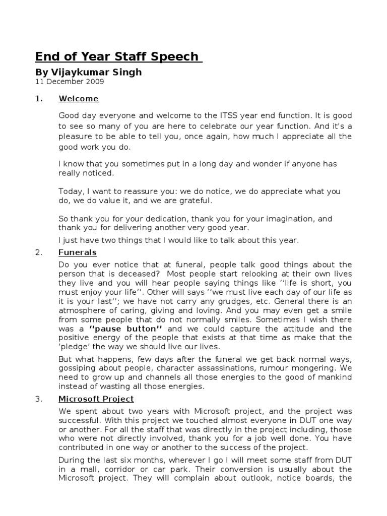 Year End Staff Speech By Vijaykumar Singh