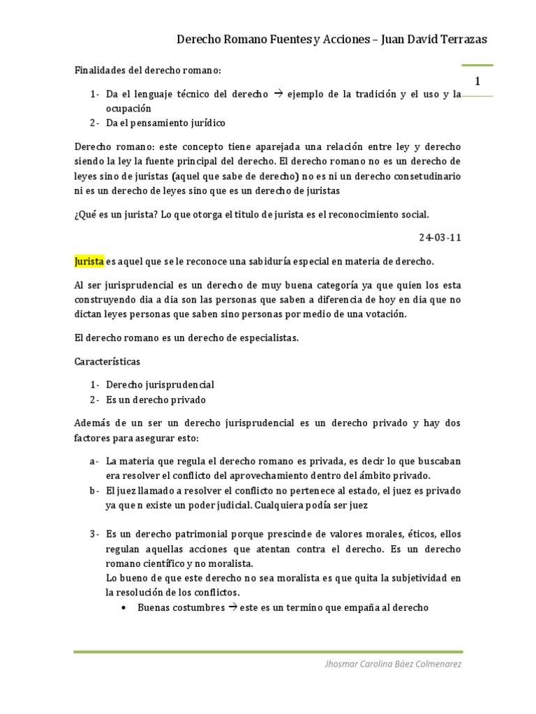 Derecho Romano Fuentes Y Acciones Ley Romana Julio César