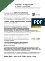 FORMACION - Cmo Hacer Cursos Gratis en Las Mejores Universidades Del Mundo y Con Ttulo