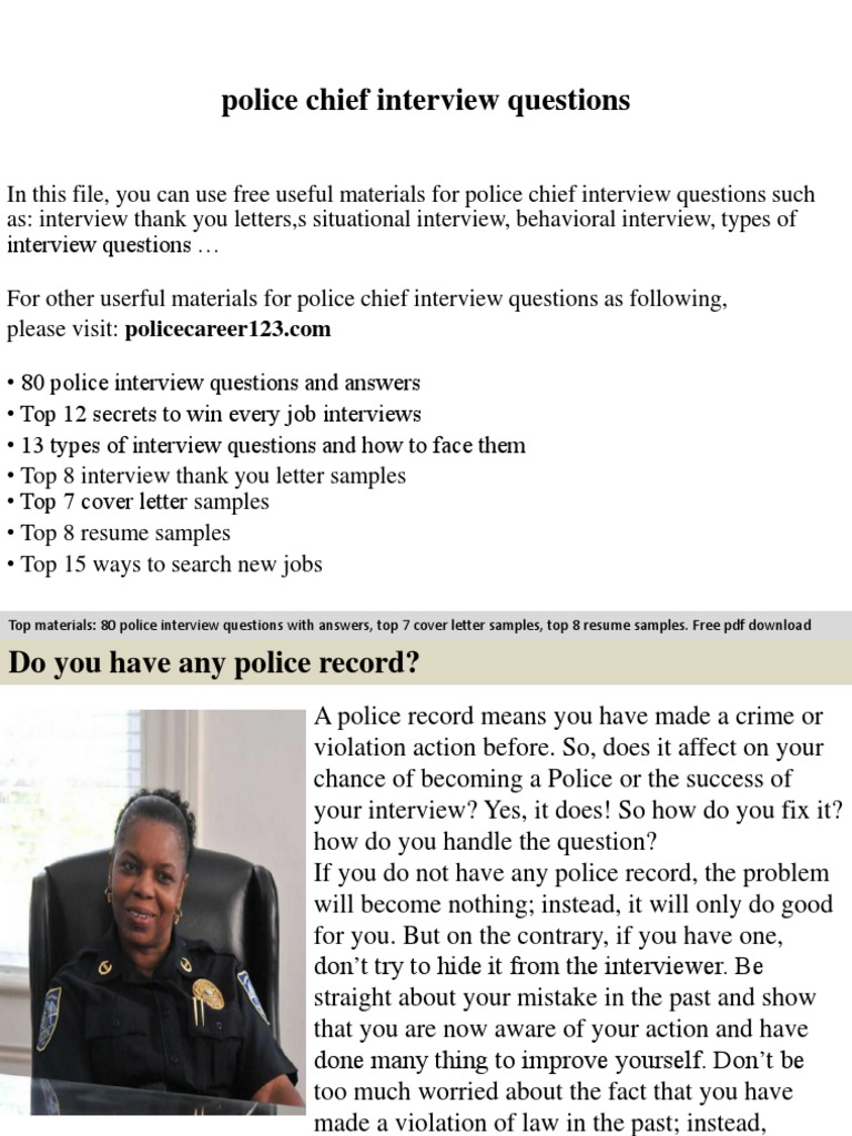 Police Chief Interview Questions | Job Interview | Interview  Police Chief Resume