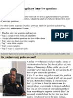 Police Applicant Interview Questions