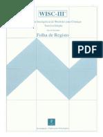 Folha de Registo WISC-III