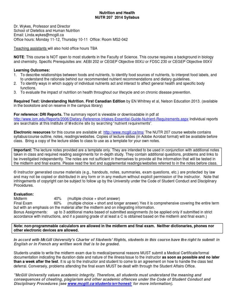 NUTR 207 FA14 Syllabus | Nutrition | Test (Assessment)