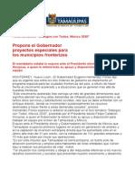 com0905 121006 Propone el Gobernador Eugenio Hernández proyectos especiales para los municipios fronterizos
