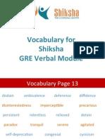 Vocabulary for Shiksha GRE Verbal Module