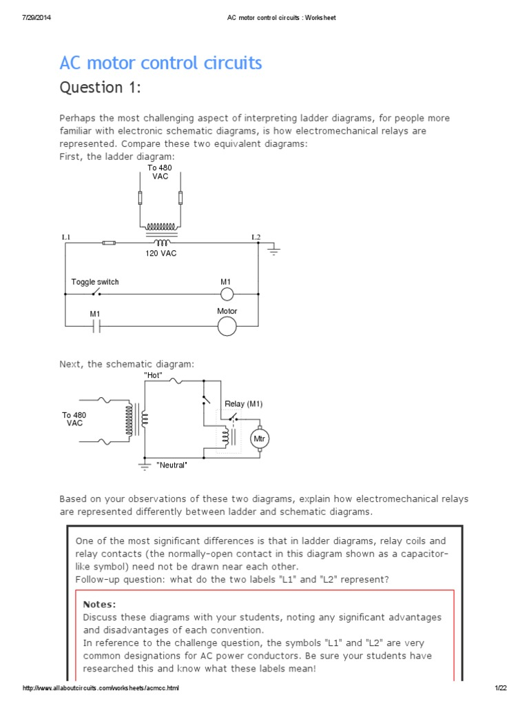AC Motor Control Circuits _ Worksheet | Relay | Switch on