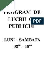 Program de Lucru Cu Publicul