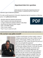 York Police Department Interview Questions